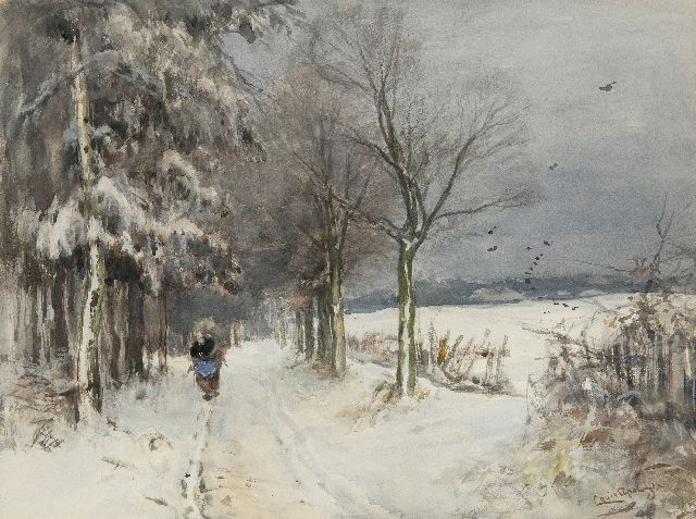 Louis Apol | A snowy landscape with a wood gatherer, watercolour and gouache on paper, 40.1 x 53.1 cm, signed l.r.