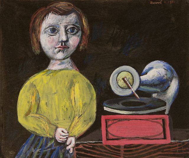 Westerik J.  | Girl with children's grammophone player, gouache on paper, 51.0 x 60.3 cm, signed u.r. and dated 1951