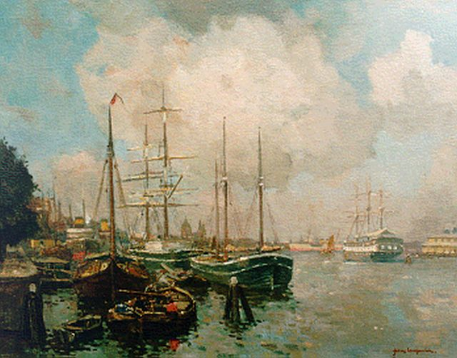 Frans Langeveld | The harbour of Amsterdam, oil on canvas, 60.0 x 76.2 cm, signed l.r.