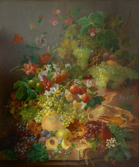Waarden J. van der | A still life with fruit and flowers, oil on panel 91.8 x 76.7 cm, signed l.r. and painted after 1850