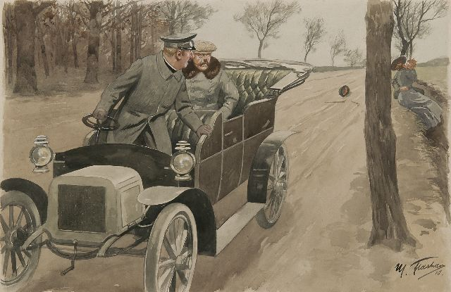 Max Flashar | But that's my wife!, watercolour and gouache on paper, 42.2 x 62.5 cm, signed l.r. and dated l.r. '10 and 22 Sept.1910 on the reverse