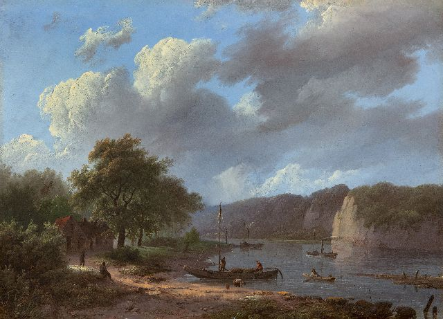 Koekkoek I M.A.  | Rhine landscape, oil on panel 22.1 x 31.1 cm, signed l.c. and dated 1847