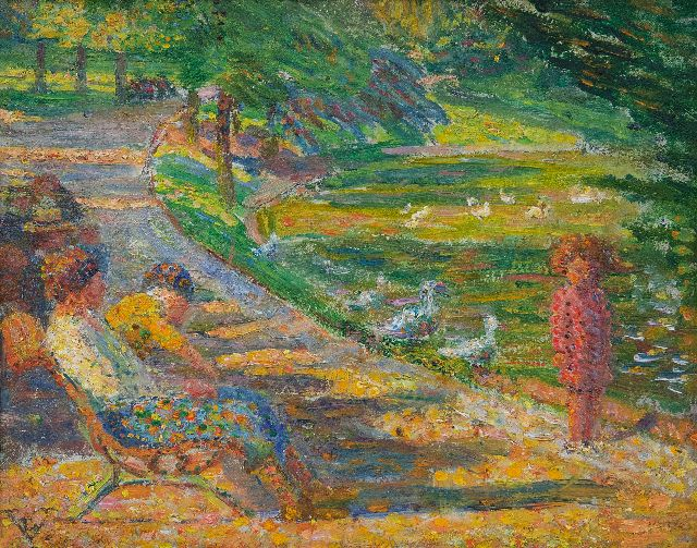Vallée L.  | A summer day in the parc, oil on board 18.4 x 24.1 cm, signed l.l. with monogram and painted ca. 1938