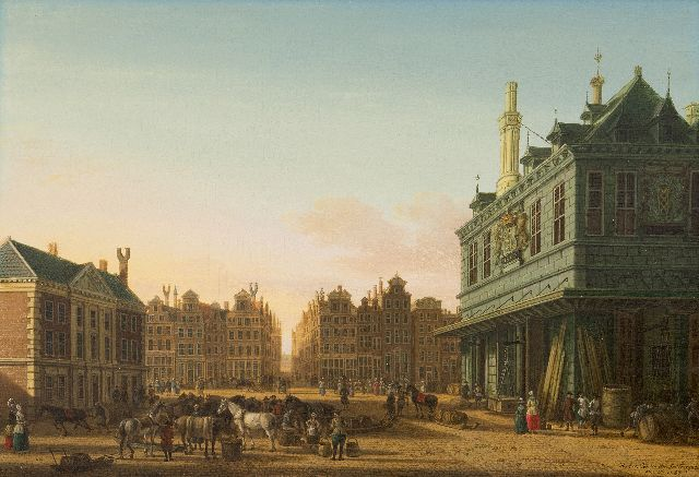 Fargue P.C. la | The Dam square in Amsterdam with the Waag and the Beurssteeg in the distance, oil on panel, 31.3 x 45.8 cm, signed l.r. and dated 1780