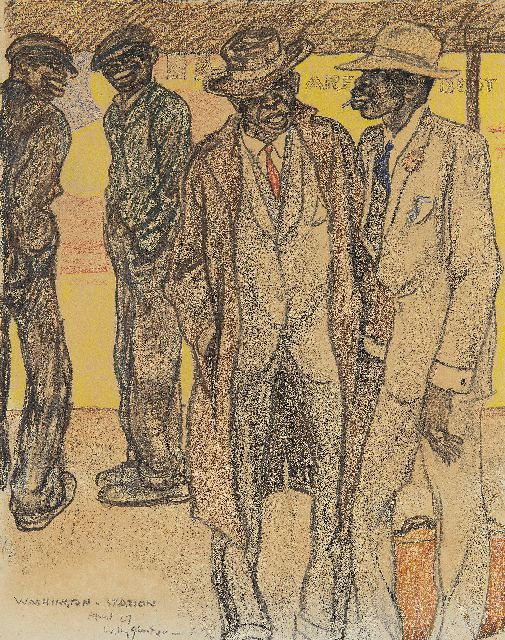Willy Sluiter | On the platform, Washington Station, black and coloured chalk on paper, 46.5 x 36.6 cm, signed l.l. and dated April '27