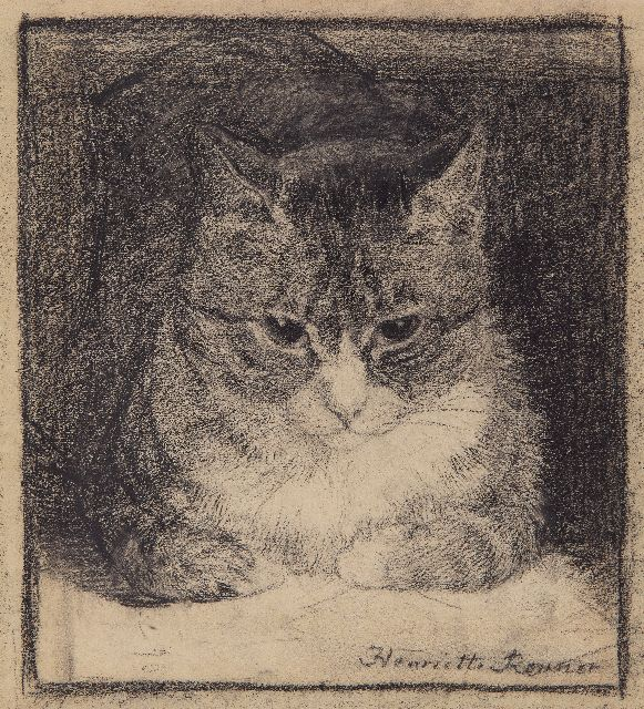 Henriette Ronner-Knip | Portrait of a cat, charcoal on paper, 25.2 x 23.5 cm, signed l.r.