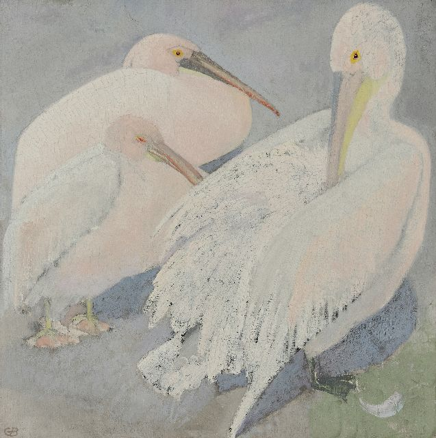 Greta Bruigom | Three pelicans, oil on canvas, 60.3 x 60.1 cm, signed l.l. with monogramm