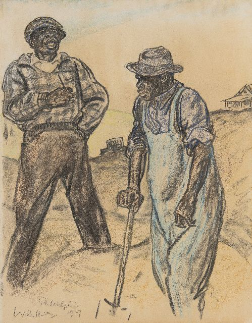 Willy Sluiter | Diggers, Philadelpia, drawing on paper, 46.6 x 36.3 cm, signed l.l. and dated 1927