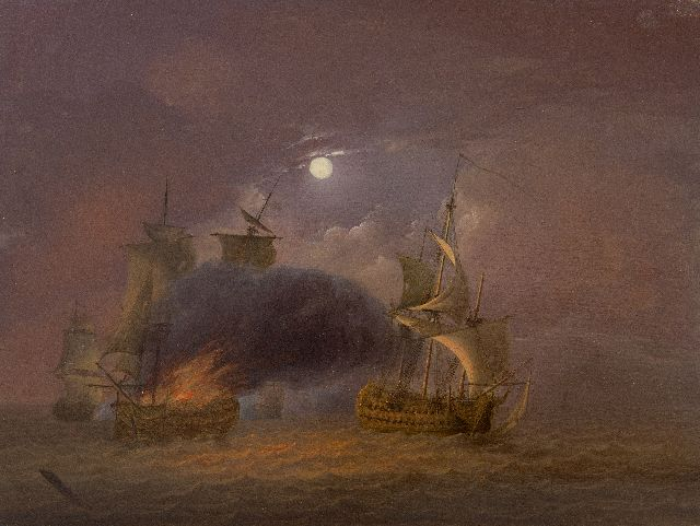 Jan van Os | Sea battle at full moon, oil on panel, 26.6 x 35.3 cm, signed l.l. and painted ca. 1800