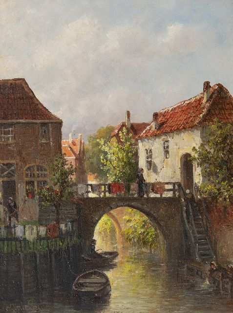 Petrus Gerardus Vertin | Drying laundry on the river Dieze, Den Bosch, oil on panel, 24.2 x 18.7 cm, signed l.l. and dated '84