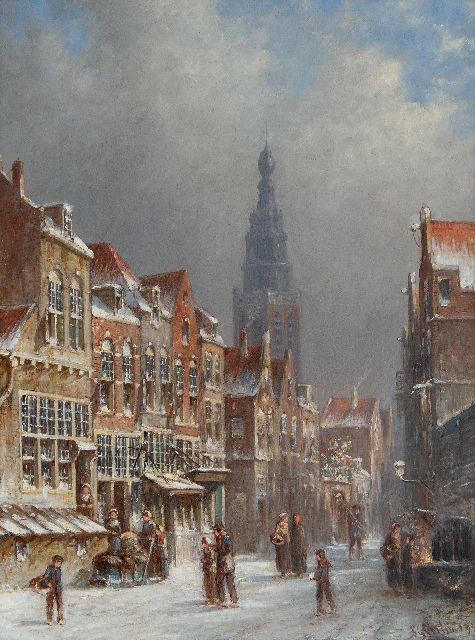 Petrus Gerardus Vertin | A snowy Dutch street scene, oil on panel, 35.7 x 27.0 cm, signed l.r. and dated '93