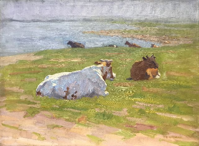 Co Breman | Cattle in a meadow (along the river IJssel), oil on canvas, 28.2 x 38.4 cm, signed l.r.