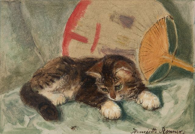 Henriette Ronner-Knip | A kitten observing a fly, oil on paper laid down on board, 21.8 x 31.2 cm, signed l.r.