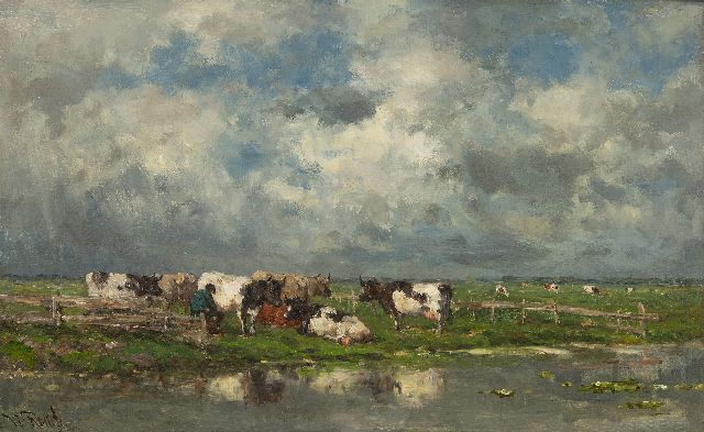 Roelofs W.  | Milking time, oil on canvas, 37.3 x 58.4 cm, signed l.l. and painted ca. 1886