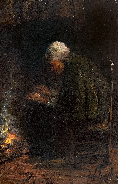 Jozef Israëls | By the fire, oil on panel, 29.5 x 20.0 cm, signed l.r. (twice)