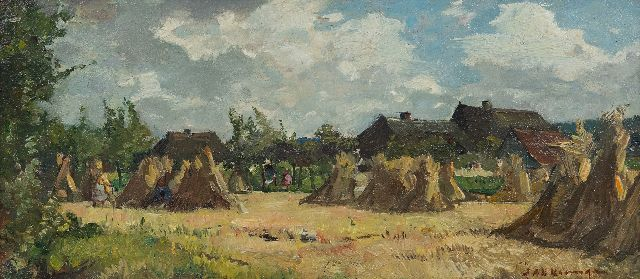 Johannes Evert Hendrik Akkeringa | Children playing between wheat sheaves, oil on panel, 12.1 x 27.1 cm, signed l.r.