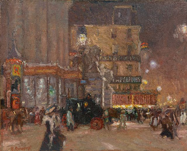 Maurits Niekerk | A night out in Brussels at the Place de la Bourse, oil on canvas laid down on panel, 55.9 x 70.0 cm, signed l.l. and painted ca. 1903-1908