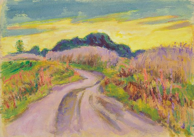 Altink J.  | Country road with yellow sky; on the reverse: Wooded path, gouache on paper 56.0 x 78.4 cm
