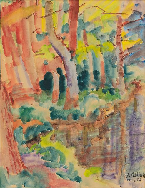 Jan Altink | Forest with a pond, watercolour on paper, 61.7 x 46.7 cm, signed l.r. and dated '55
