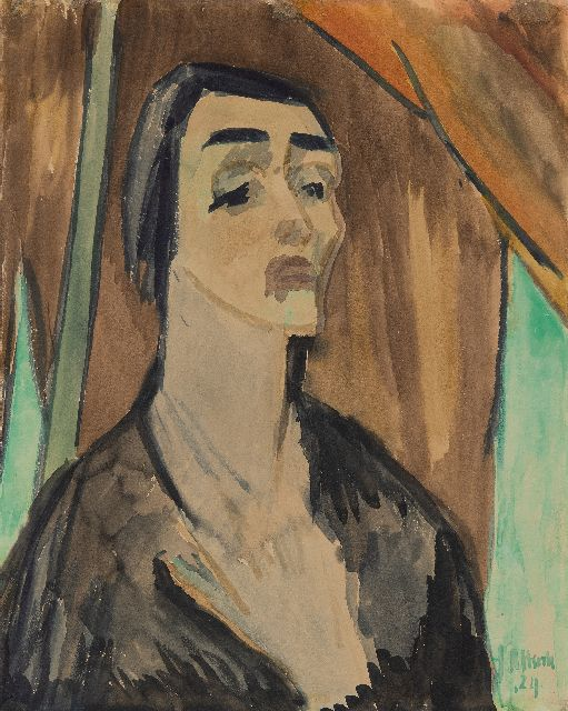 Altink J.  | A portrait of Mrs Georges Duhamel reciting a poem, ink and watercolour on paper 54.6 x 43.3 cm, signed l.r. and dated '24