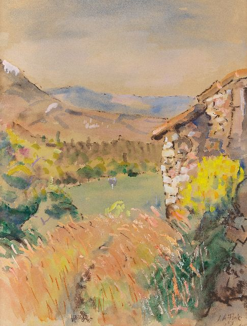 Altink J.  | Abandoned farm in France, tempera on paper 63.0 x 47.5 cm, signed l.r. and dated '53