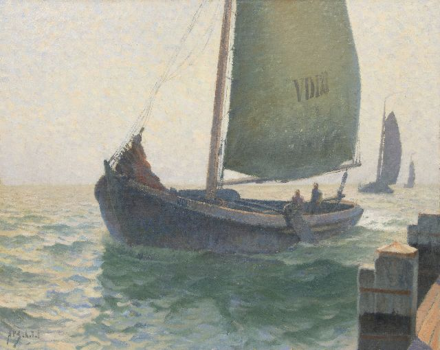 Schotel A.P.  | Fishing boat entering the harbour of Volendam, oil on canvas 80.7 x 100.4 cm, signed l.l.