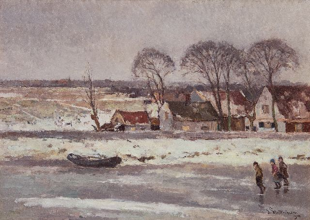 Louis Stuttenheim | Children skating on a frozen waterway near Nieuwkoop, oil on canvas, 50.5 x 70.7 cm, signed l.r. and dated 1924