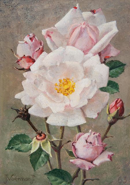 Jan Voerman jr. | Pink roses, oil on board, 18.0 x 12.7 cm, signed l.l. and dated '63