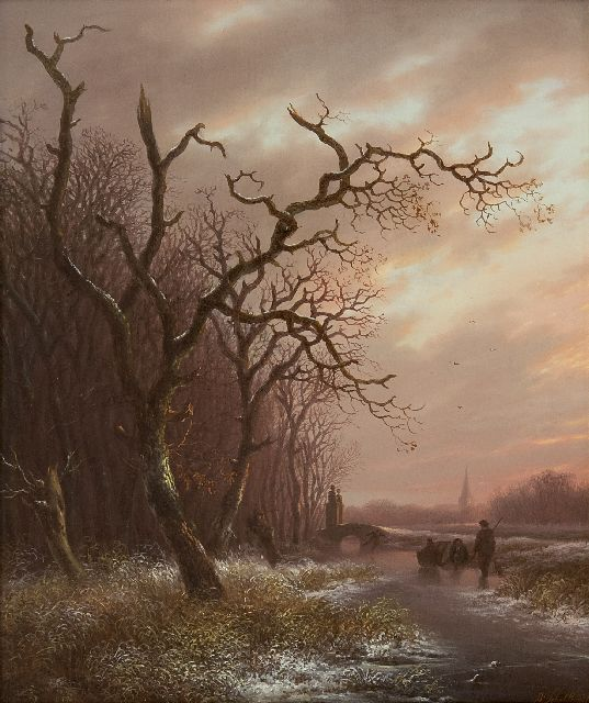 Andreas Schelfhout | A winter landscape with skaters at sunset, oil on panel, 29.5 x 24.7 cm, signed l.r. and painted ca. 1812
