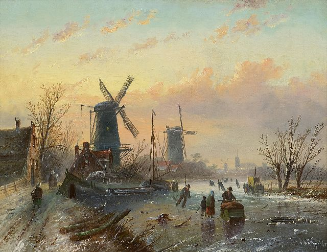 Jacob Jan Coenraad Spohler | Skaters on a frozen river, oil on canvas, 35.2 x 45.3 cm, signed l.r.