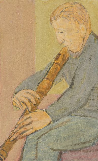 Onbekend | Fipple flute player, oil on canvas laid down on board, 17.9 x 11.0 cm
