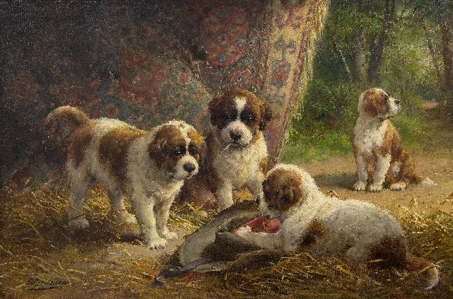 Otto Eerelman | St. Bernard puppies, oil on canvas, 60.8 x 90.5 cm, signed l.r.