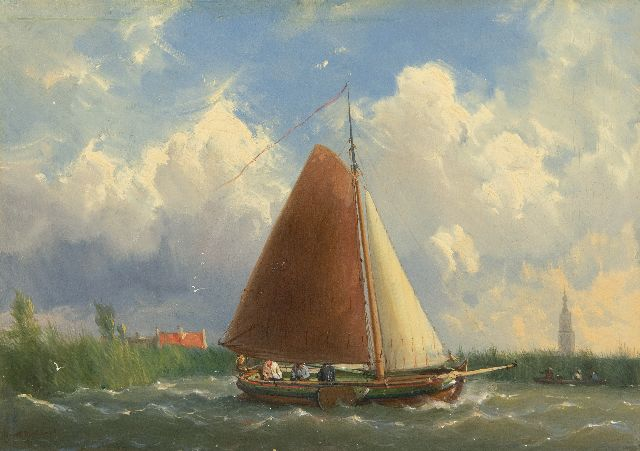 Jan H.B. Koekkoek | Shipping on a Frisian yacht, oil on panel, 23.1 x 32.6 cm, signed l.l. and dated '61