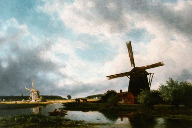 Roelofs W.  | A polder landscape with windmills, oil on canvas, 68.5 x 99.5 cm, signed l.l.