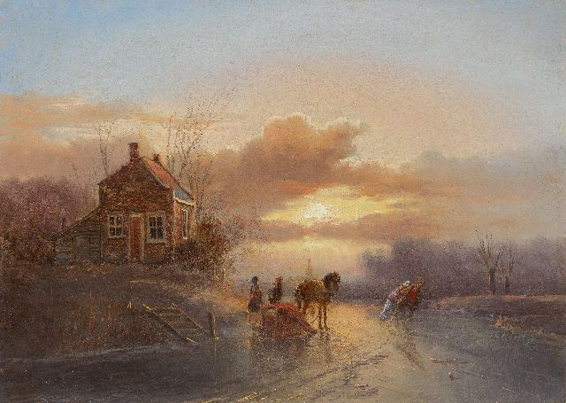 Jan Evert Morel II | A horse drawn sledge and skaters at sunset, oil on panel, 20.2 x 28.5 cm, signed l.r.