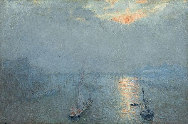 Ko Cossaar | The Thames in the fog, oil on canvas, 51.8 x 76.5 cm, signed l.l.