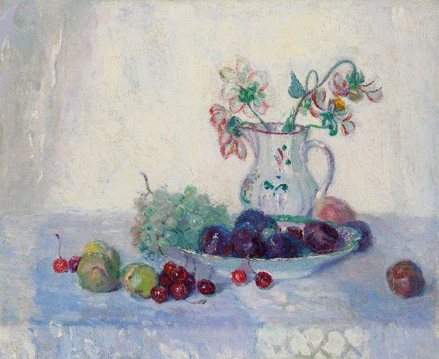 Maurits Niekerk | A still life with fruit and a jug with flowers, oil on canvas, 46.1 x 55.4 cm, signed l.l. on canvas cover