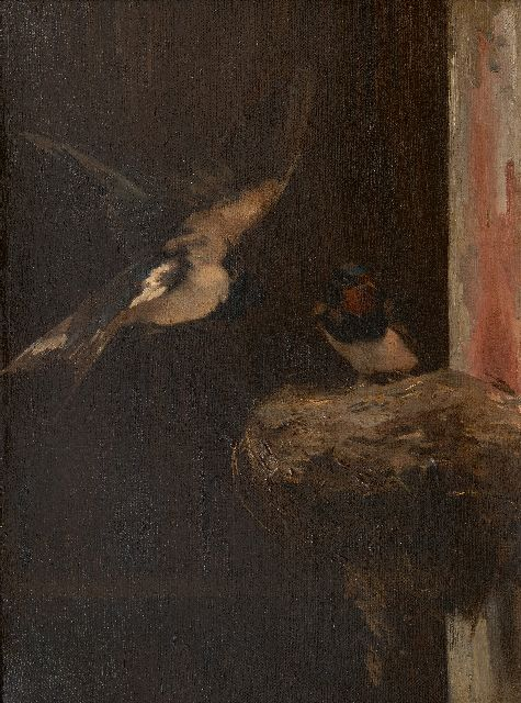 Cornelis Samuel Stortenbeker | Nesting swallows, oil on canvas, 46.6 x 34.7 cm, signed l.l. with initials
