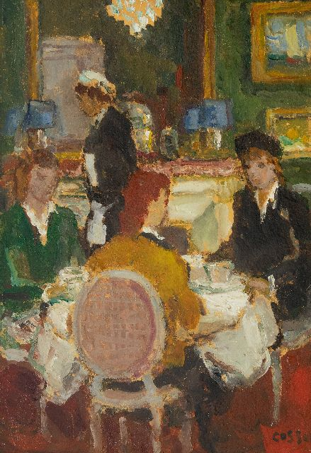 Marcel Cosson | In the restaurant, oil on painter's board, 34.8 x 24.1 cm, signed l.r.