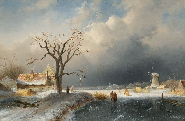 Charles Leickert | A winter landscape with skaters on a frozen river, oil on canvas, 41.5 x 62.2 cm, signed l.r. and dated '65