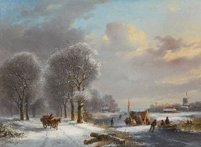 Stok J. van der | Winter landscape with figures by a 'koek-and-zopie', oil on panel 41.0 x 55.5 cm, signed l.l. and dated '52