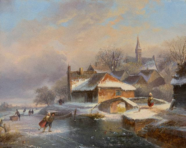 Nicolaas Johannes Roosenboom | Skaters at a snowy village, oil on panel, 18.5 x 23.0 cm, signed l.c.