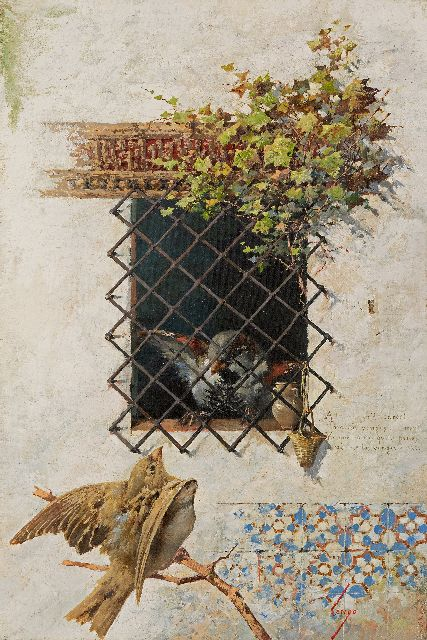 Horacio Lengo y Martinez | Behind the fence, oil on canvas, 41.4 x 28.3 cm, signed l.r.