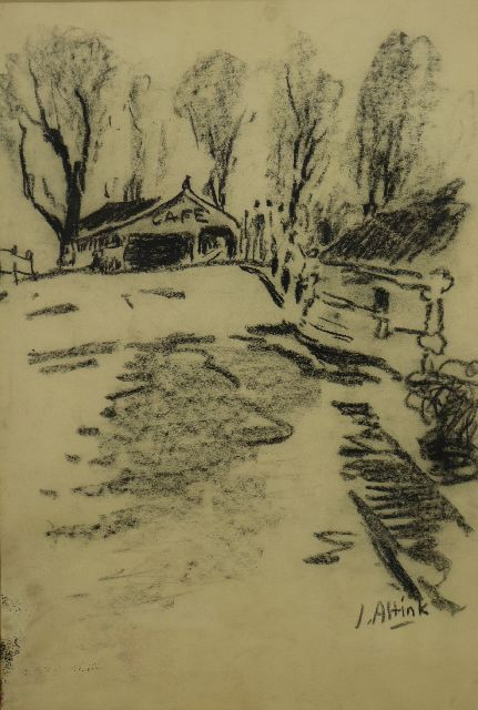 Altink J.  | Café near the bridge in Steentil, charcoal on paper 48.5 x 33.5 cm, signed l.r. and executed ca. '56