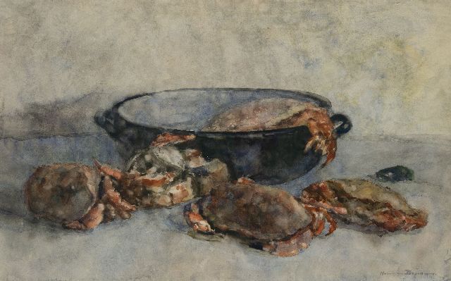 Hermanus Adrianus Charles 'Herman' Bogman Jr. | Still life with crabs, watercolour on paper, 47.2 x 75.2 cm, signed l.r.