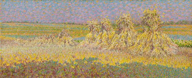 Breman A.J.  | Sheaves of wheat, oil on canvas 22.7 x 54.3 cm, signed l.l. and dated 1904