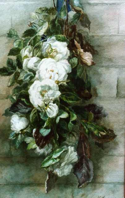 Hendrika Wilhelmina Landré-van der Kellen | A swag of roses, watercolour on paper, 52.0 x 33.0 cm, signed l.r.
