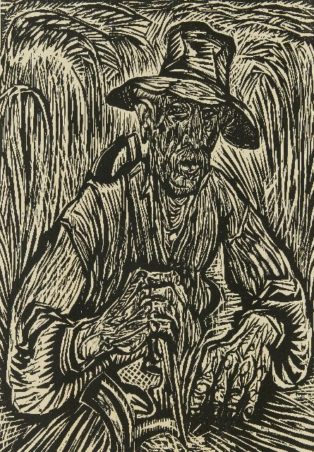Johan Dijkstra | The harvester, woodcut on paper, 75.5 x 52.0 cm, signed l.r. (in pencil) and printed ca. 1924