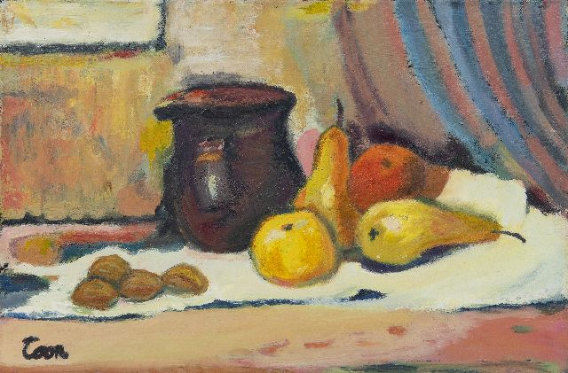 Hermans A.G.T.  | Still life with jug and pears, oil on canvas, 40.2 x 60.0 cm, signed l.l.