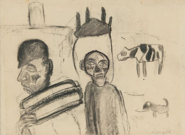 Herman Kruyder | Two men with a cow and dog, charcoal on paper, 19.1 x 26.1 cm, signed l.r. and executed ca. 1920